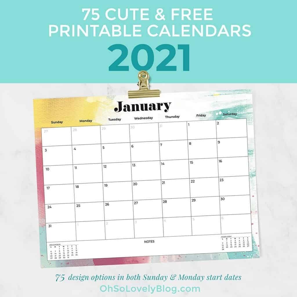 Get Printable Calendar 2021 Monthly Free No Downloads