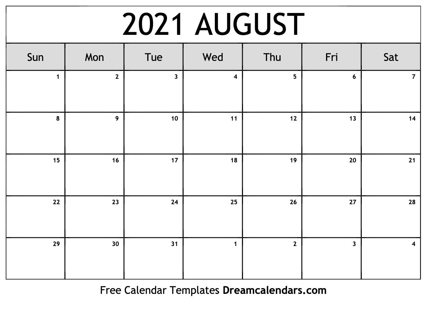 Get Printable Calendar August 2021