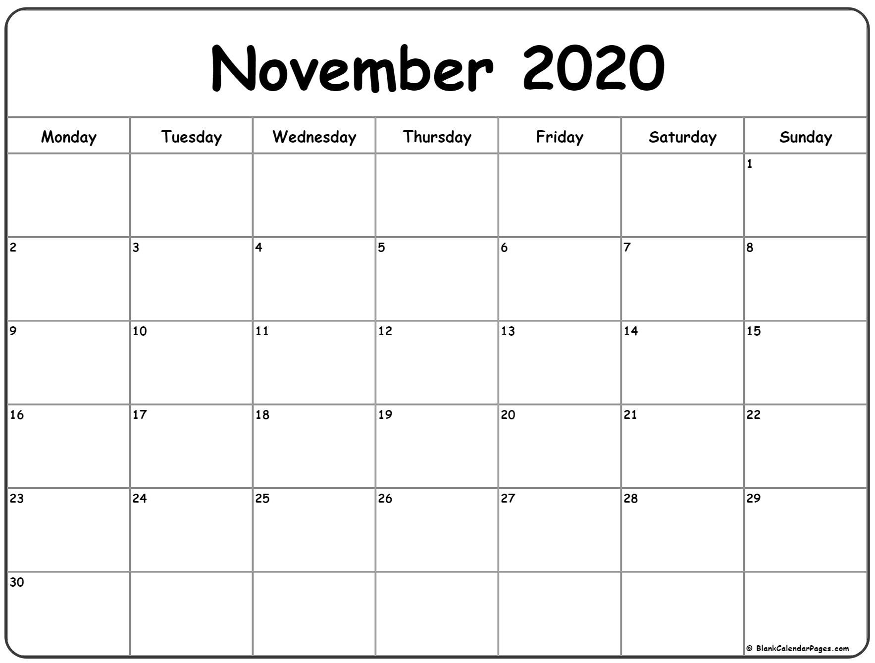 Get Printable Calendar Monday Sunday