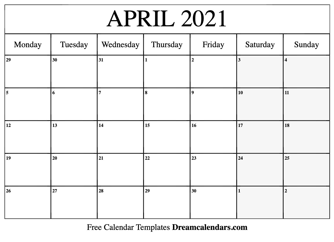 Get Printable Calendars 2021 Free Weekday Starts On Maonday