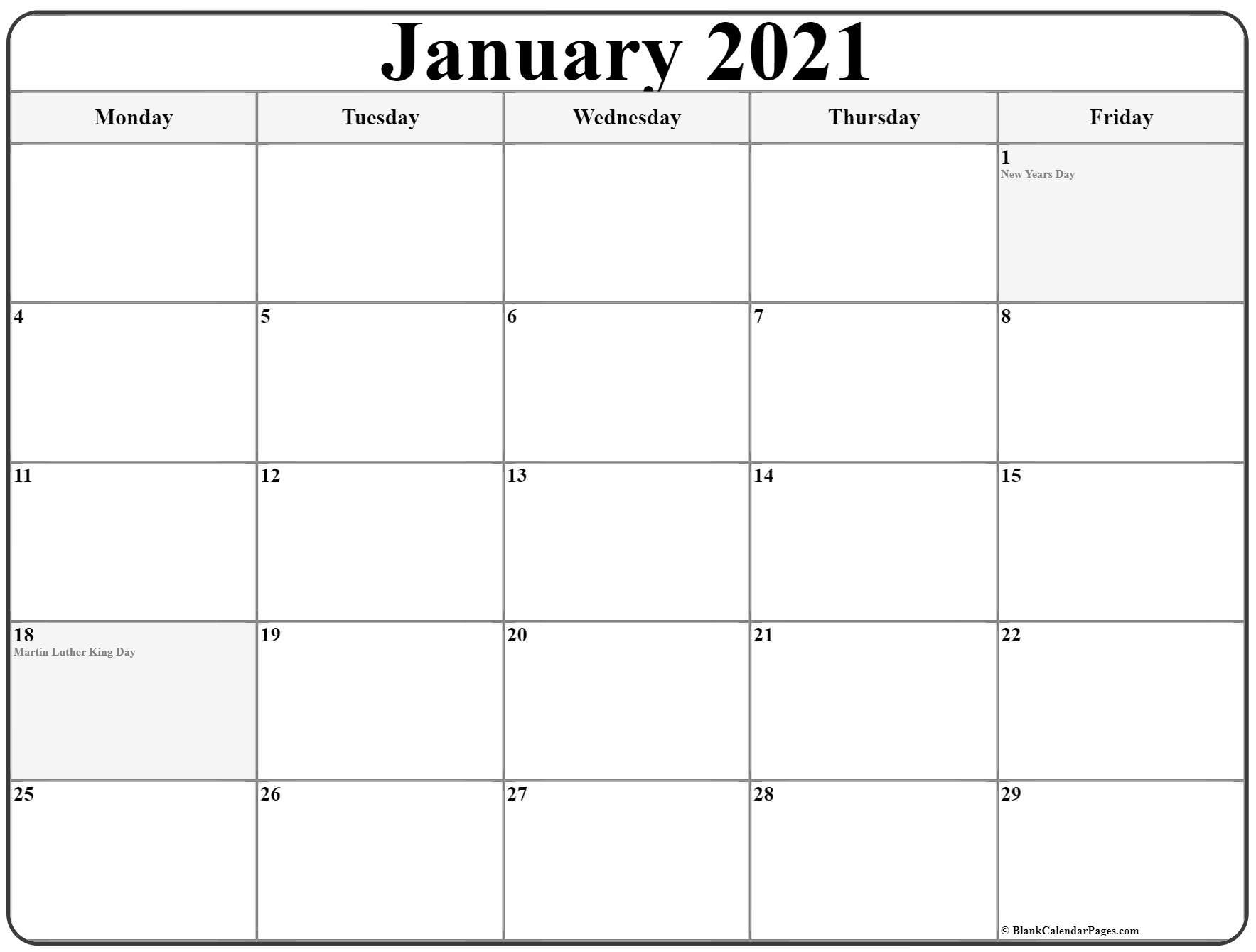 Get Printable Monday Through Sunday Calendar 2021
