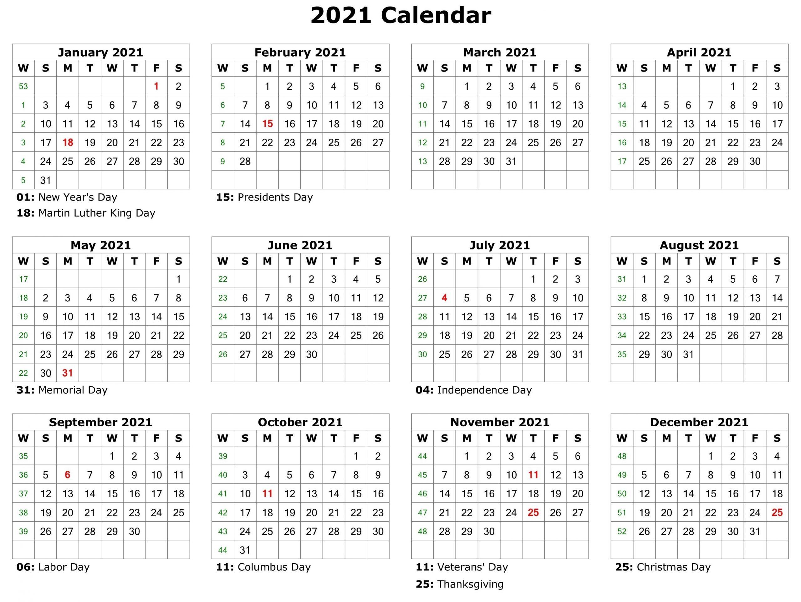 Get Printable Monthly Calander 2021 No Download