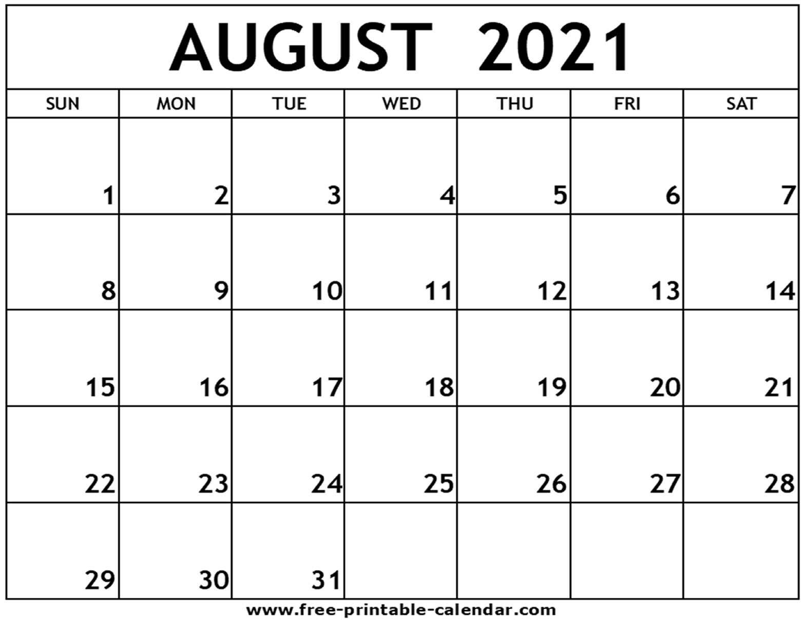 Get Printable Monthly Calendar 2021 Free August