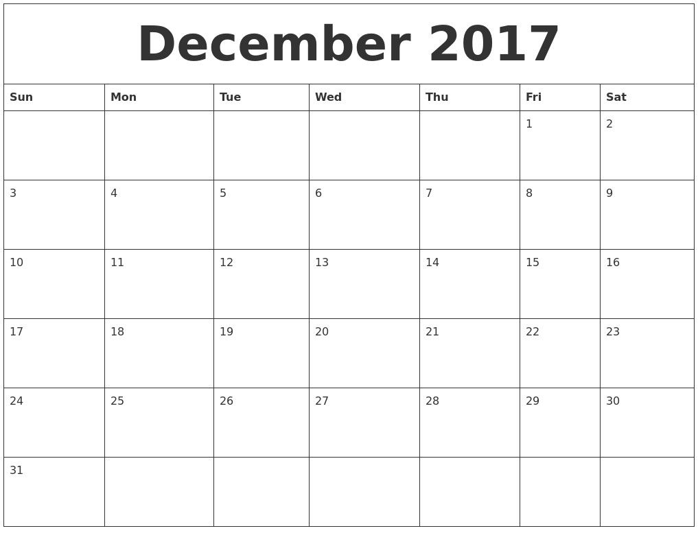 Get Printable Monthly Calendar Large Boxes
