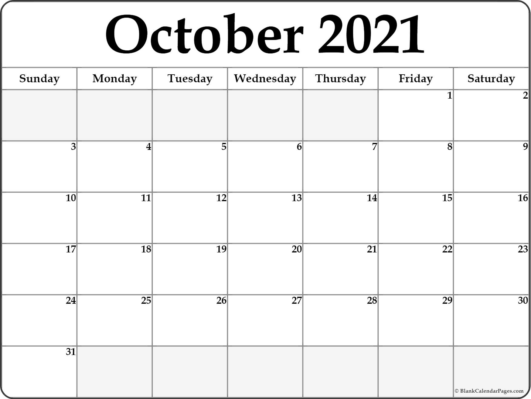Get Printable Monthly Calendar Oct 2021 Free