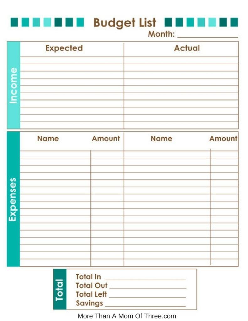 Get Printable Monthly Home Bills List