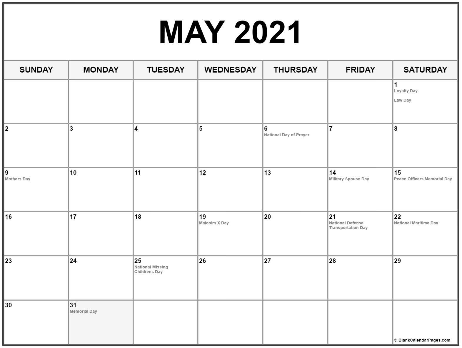 Get Printable National Calendar 2021