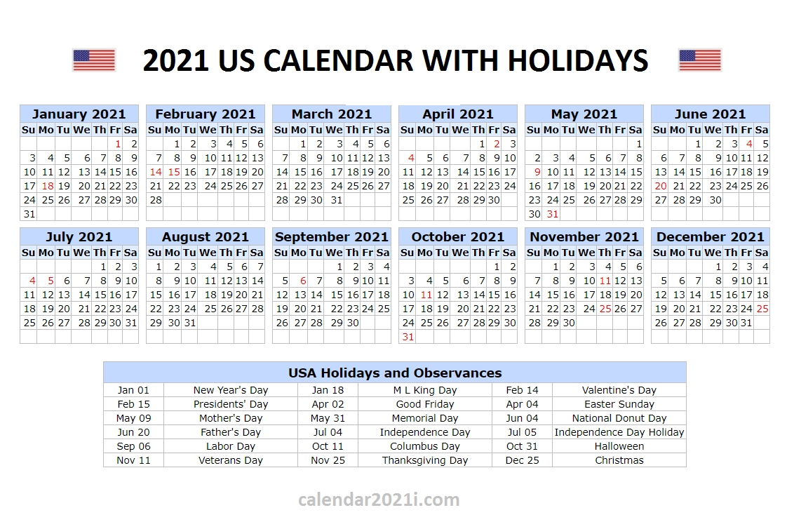 Get Printable National Calendar 2021
