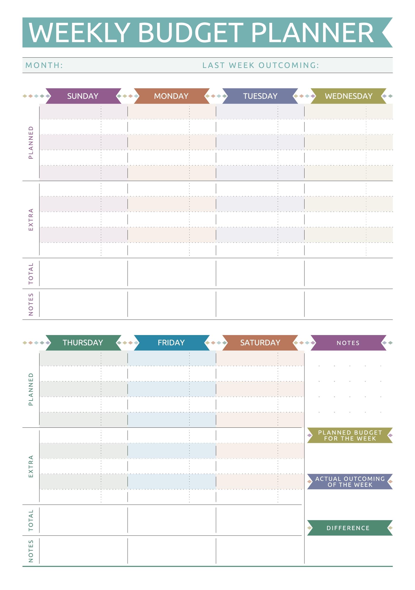 Get Printable Weekly Bill Planner
