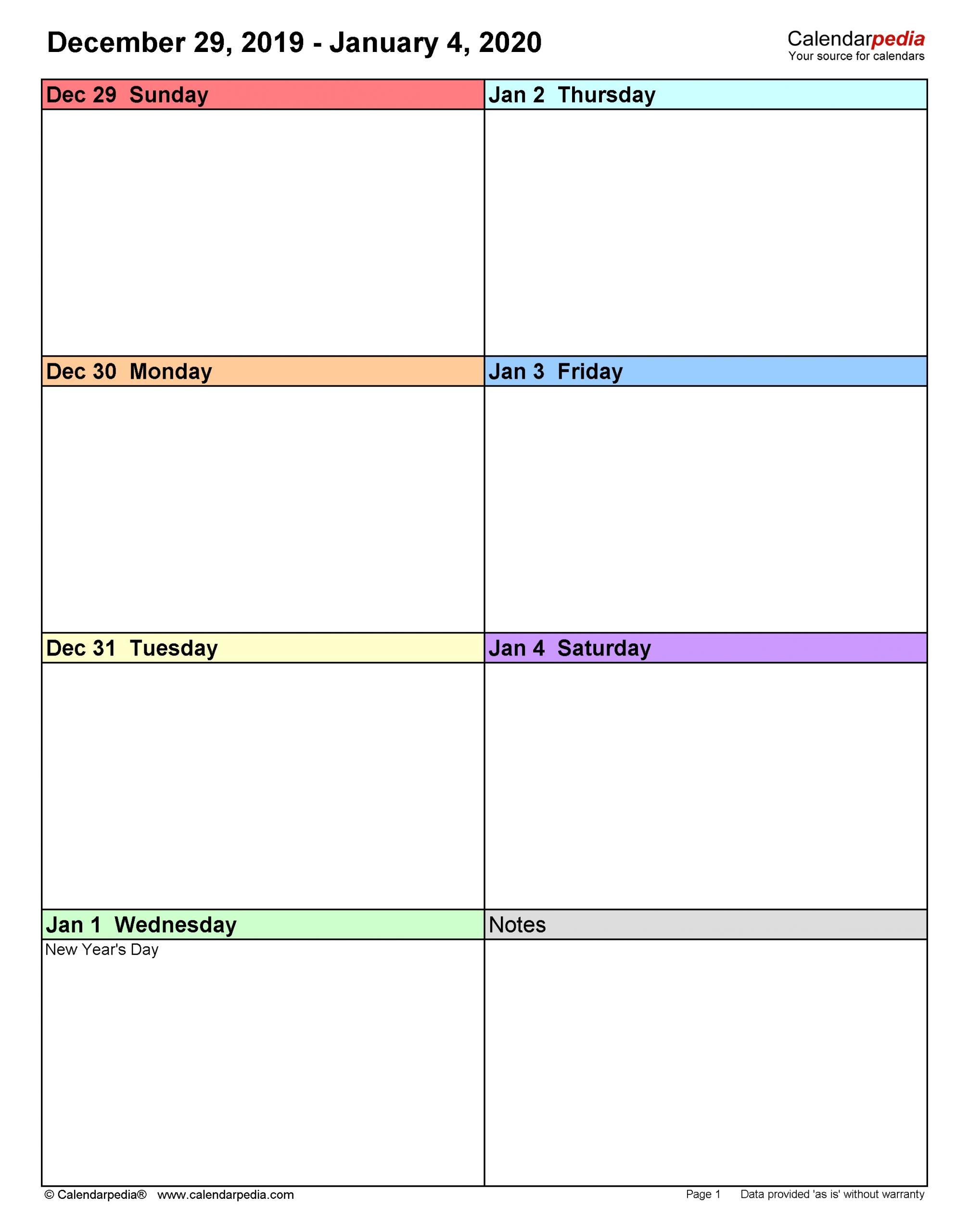 Get Printable Weekly Calendar