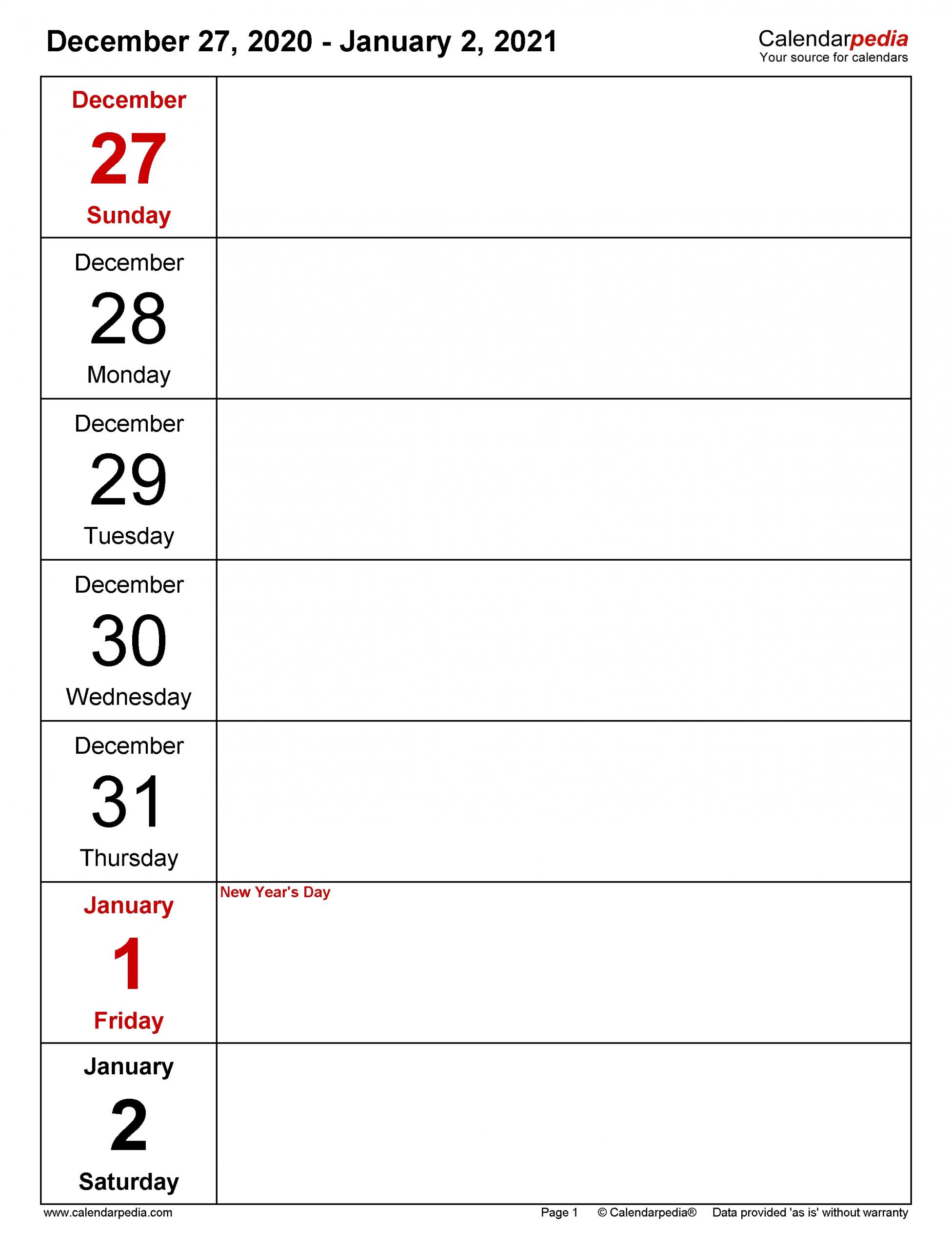 Get Printable Work Week Calendar 2021 Blank