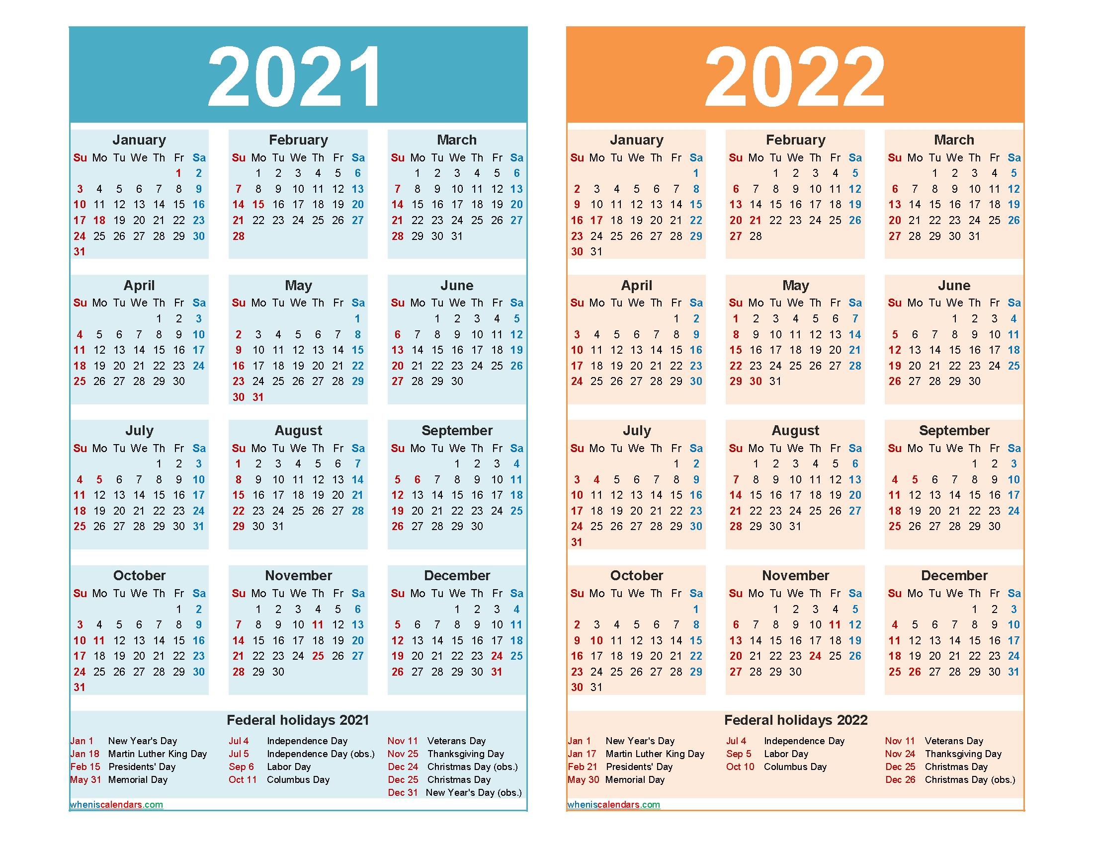 Get Printable Yearly Calendars 2021 2022