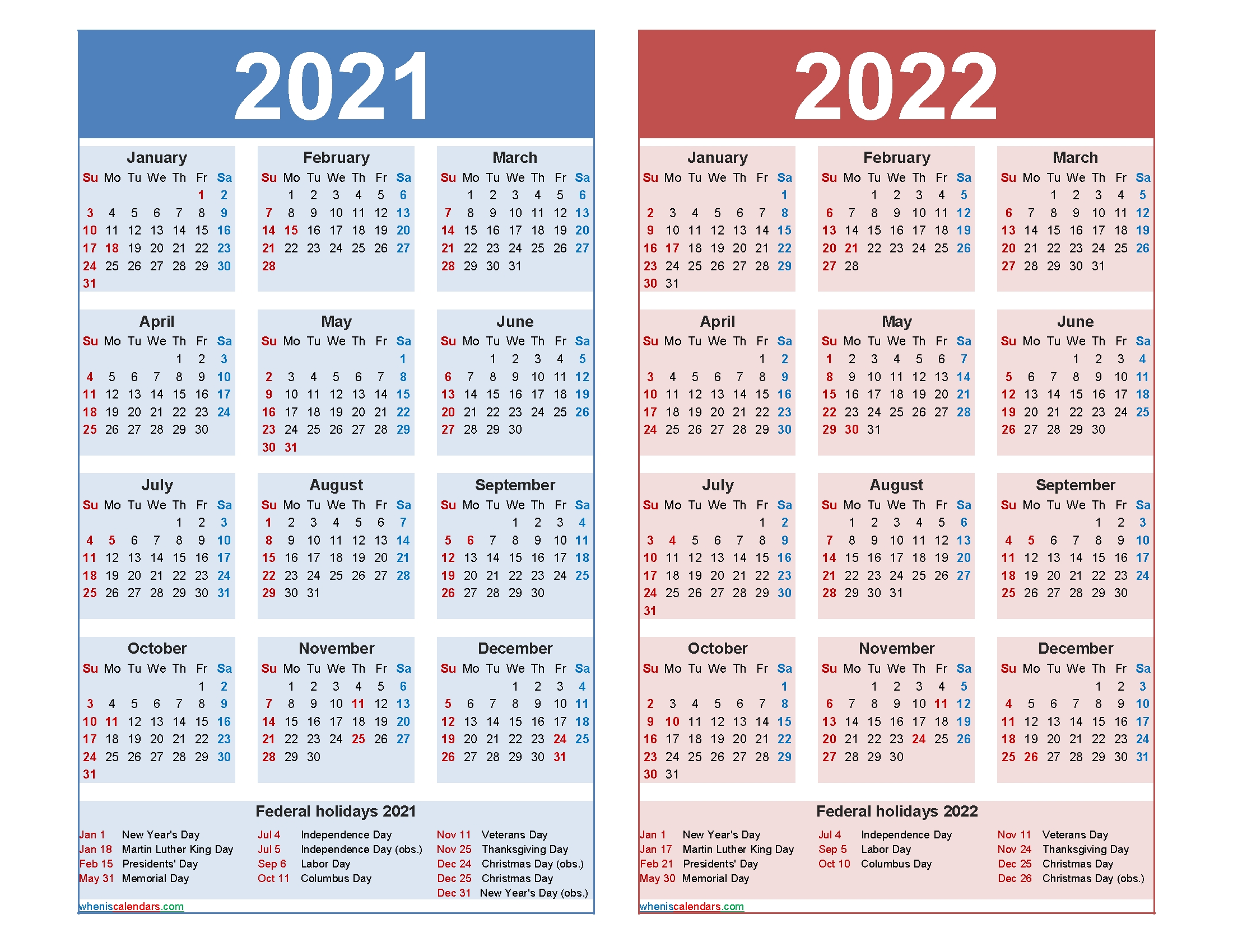 Get Printable Yearly Calendars 2021 2022