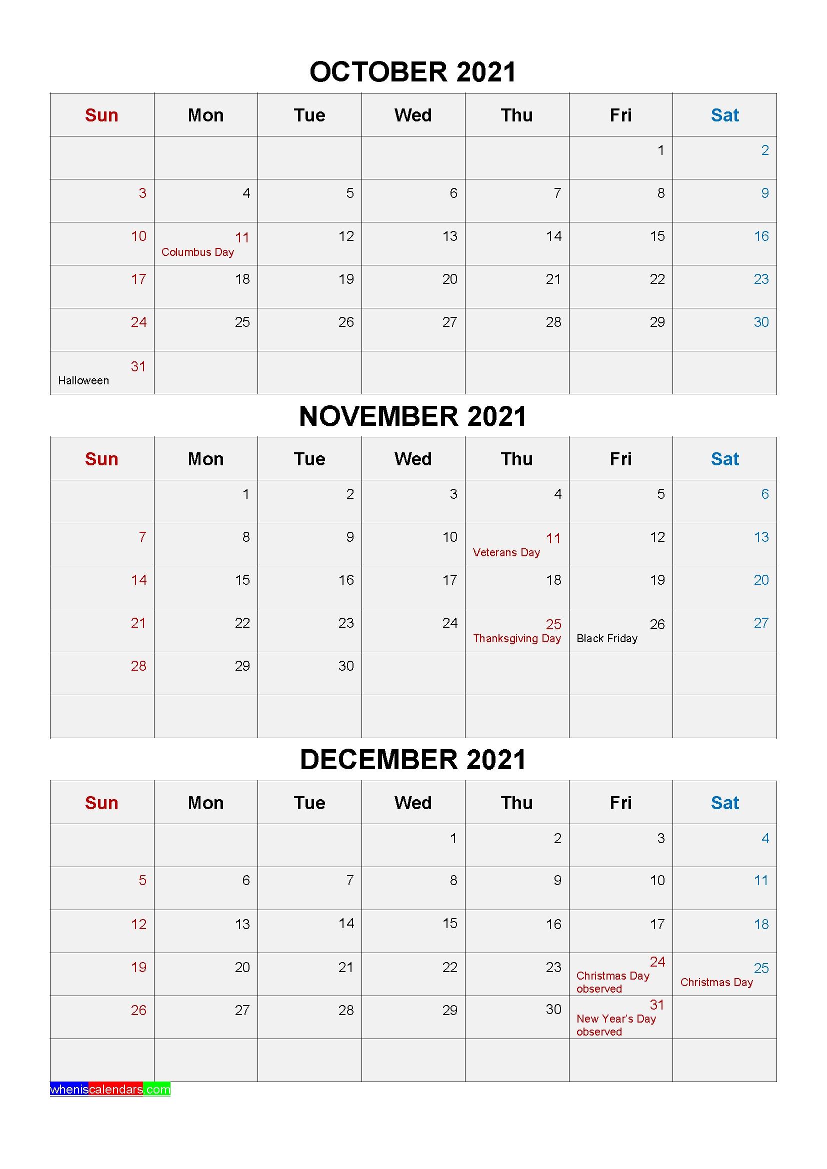 Get Quarterly 2021 Calendar Printable Oct Nov Dec