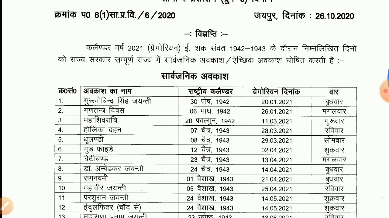 Get Rajasthan Govt Calendar 2021 With Holidays