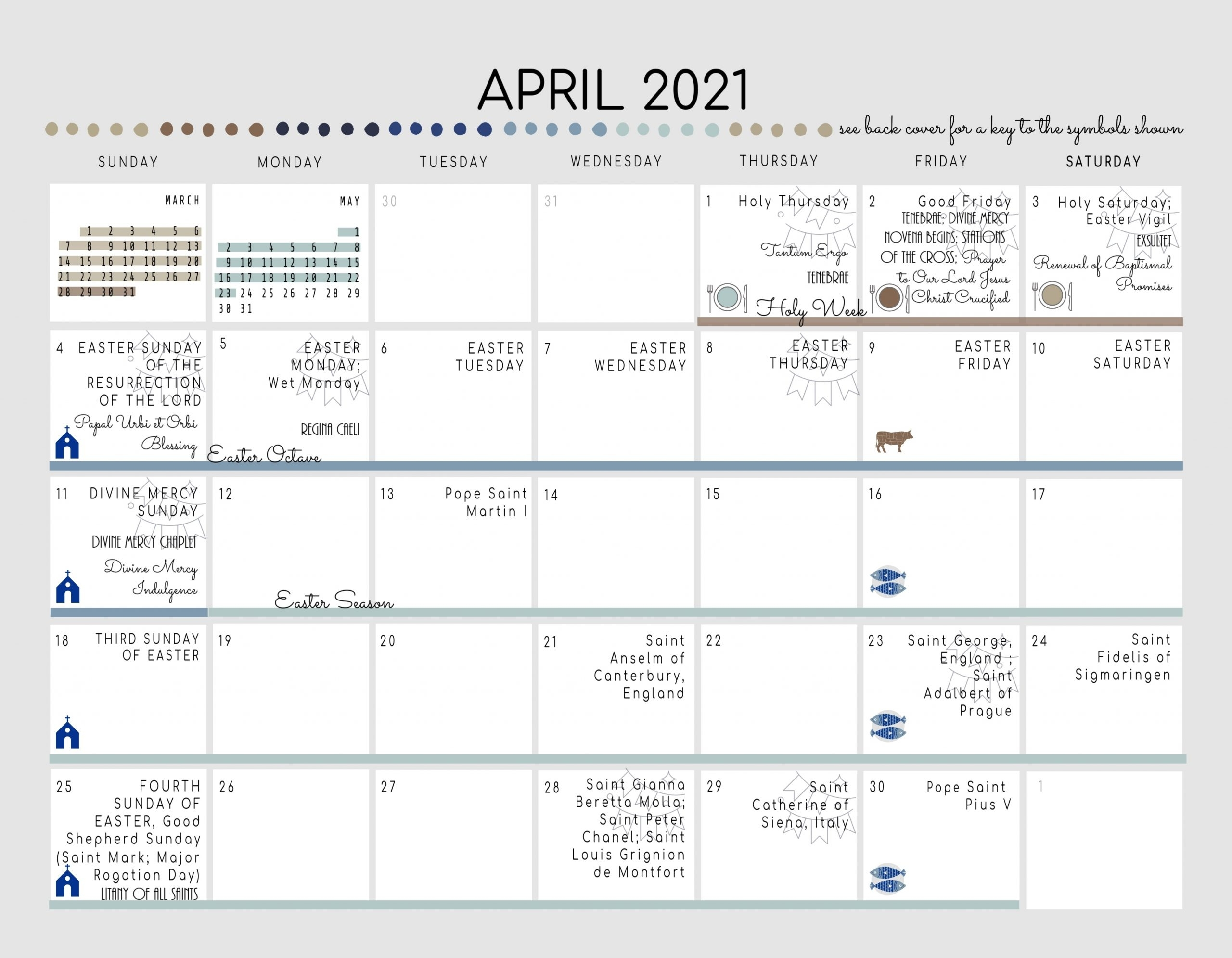 Get Roman Liturgical Monthly Calendar – April 2021