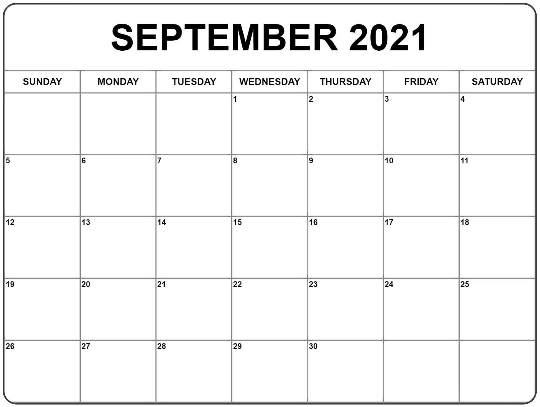 Get September 2021 Calendar Printable Free Template