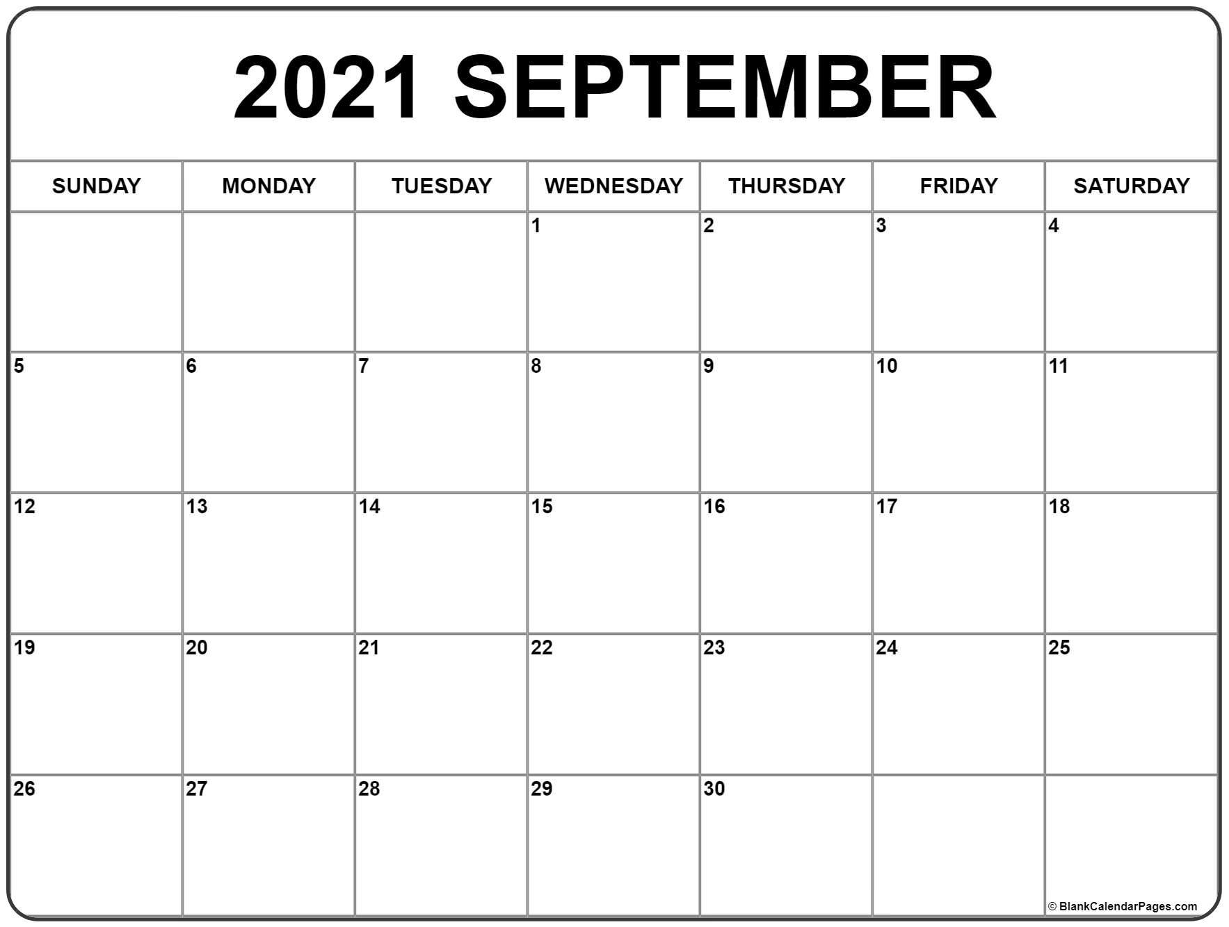 Get September Calendar 2021 Printable Free Pretty
