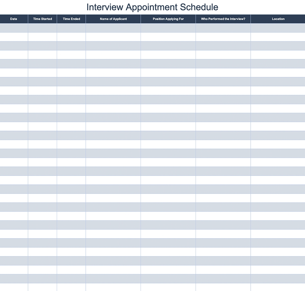 Get Time Slot Template Schedule Excel