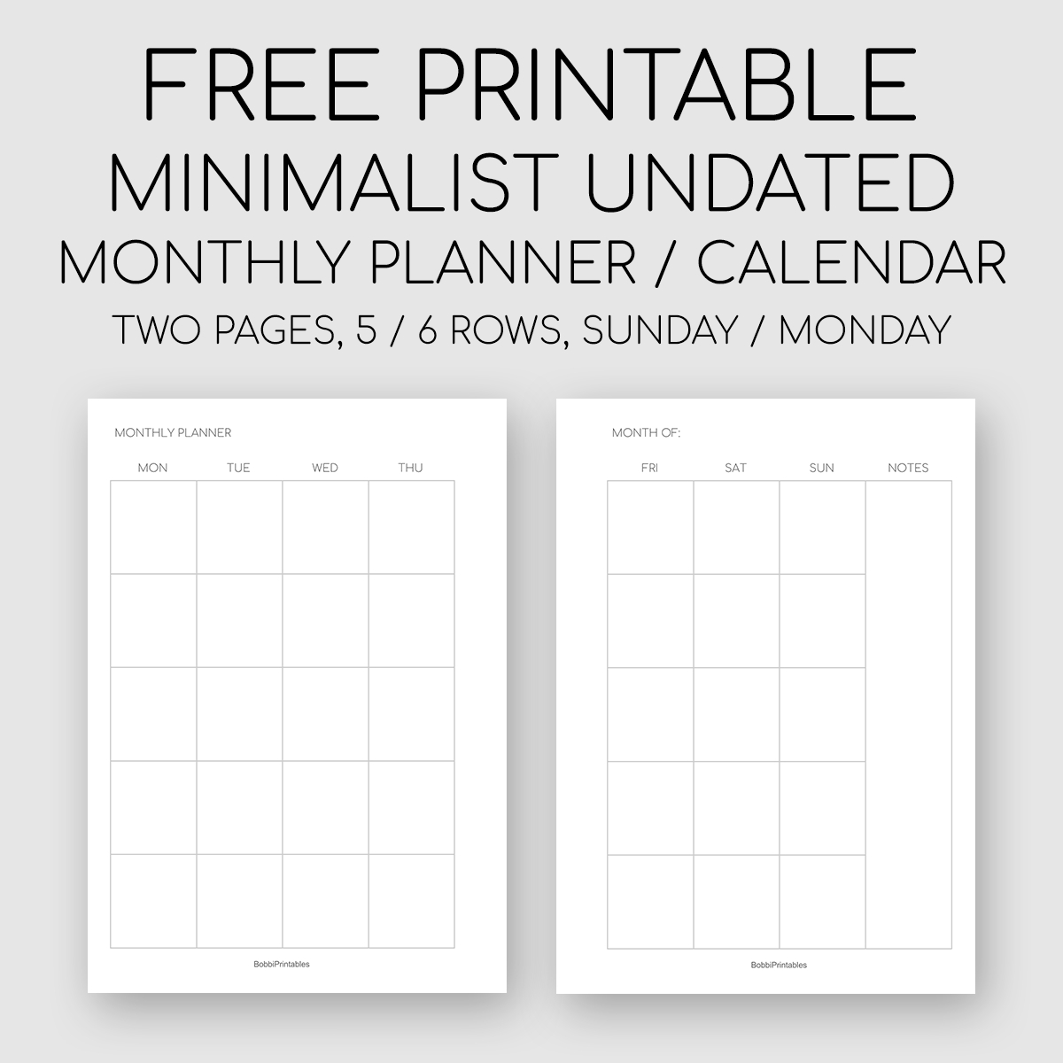 Get Undated Monthly Planner Pages