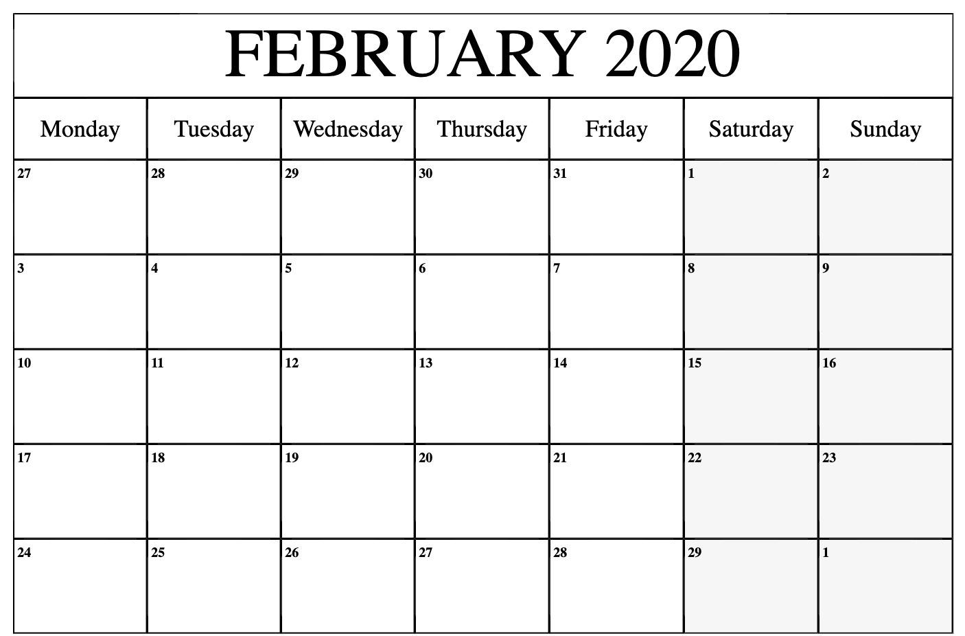 Get Vertex Blank Monthly Calendar Starts Mondat