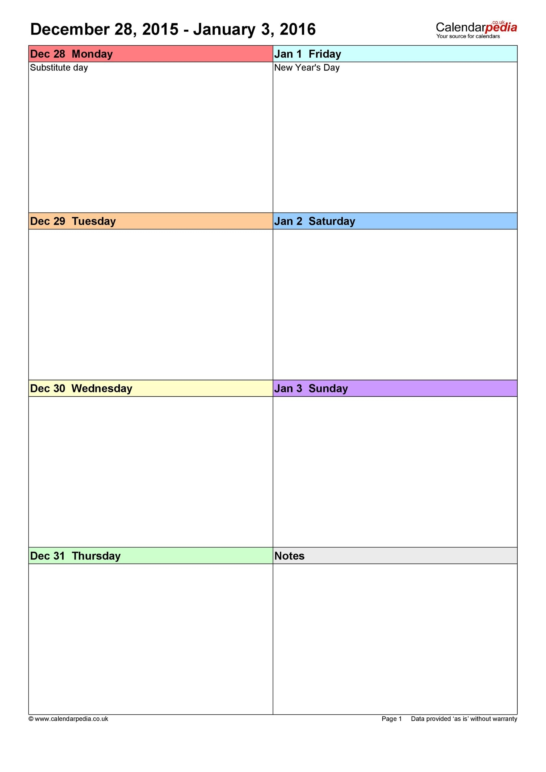 Get Weekly Calendar Template Printable