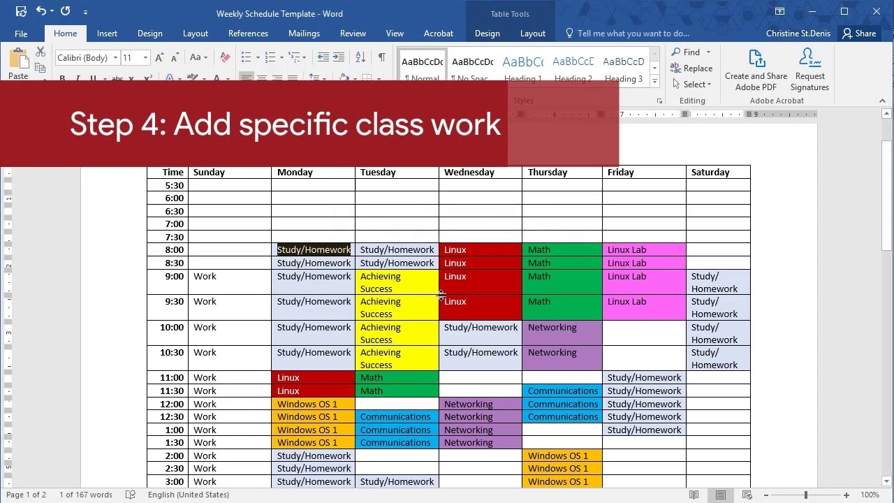 Get Weekly Schedule With Time Slots Colourful