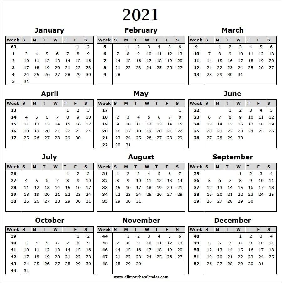 Get Weekwise Calender 2021