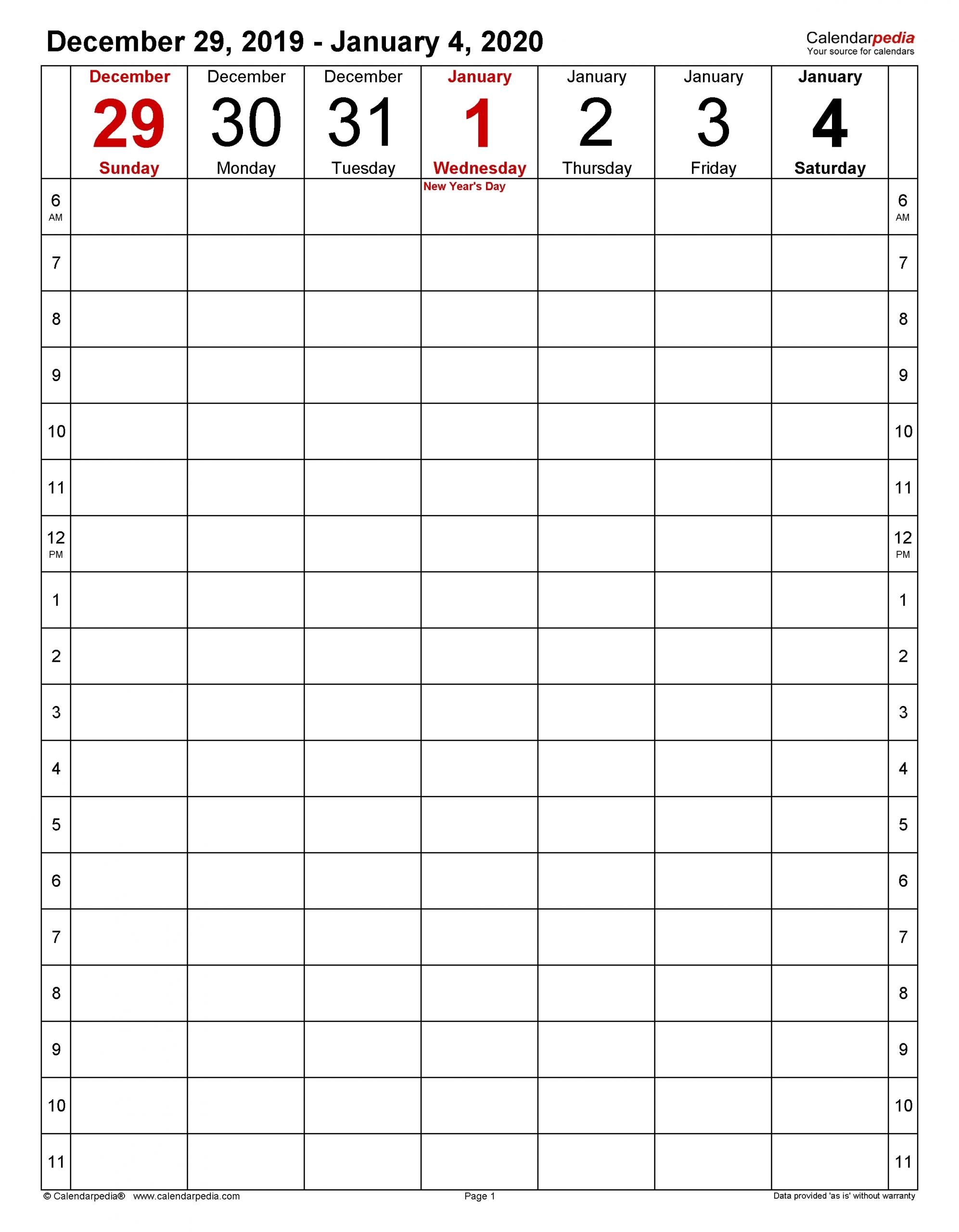 Get Work Week Calendar Printable