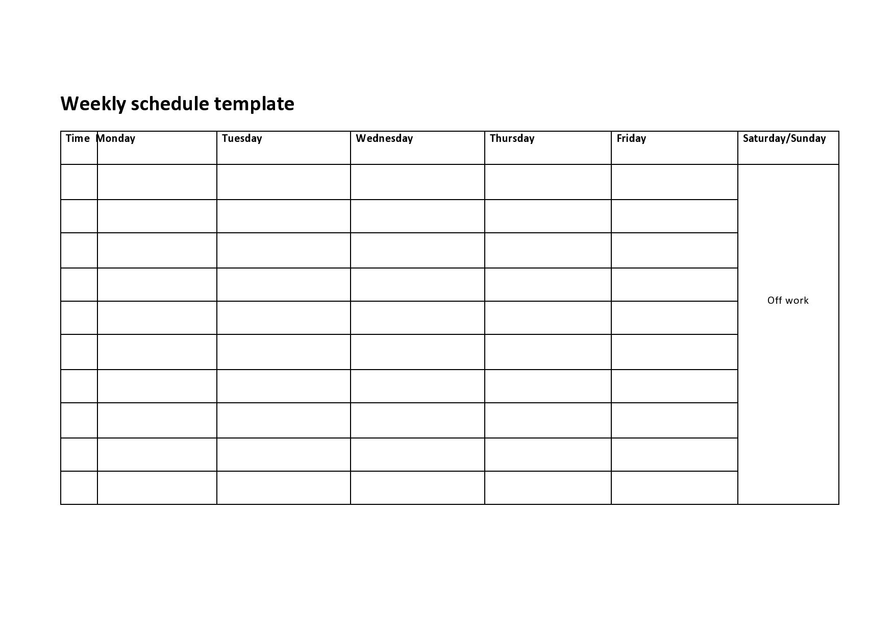 Get Work Week Printable Calader Template Blank