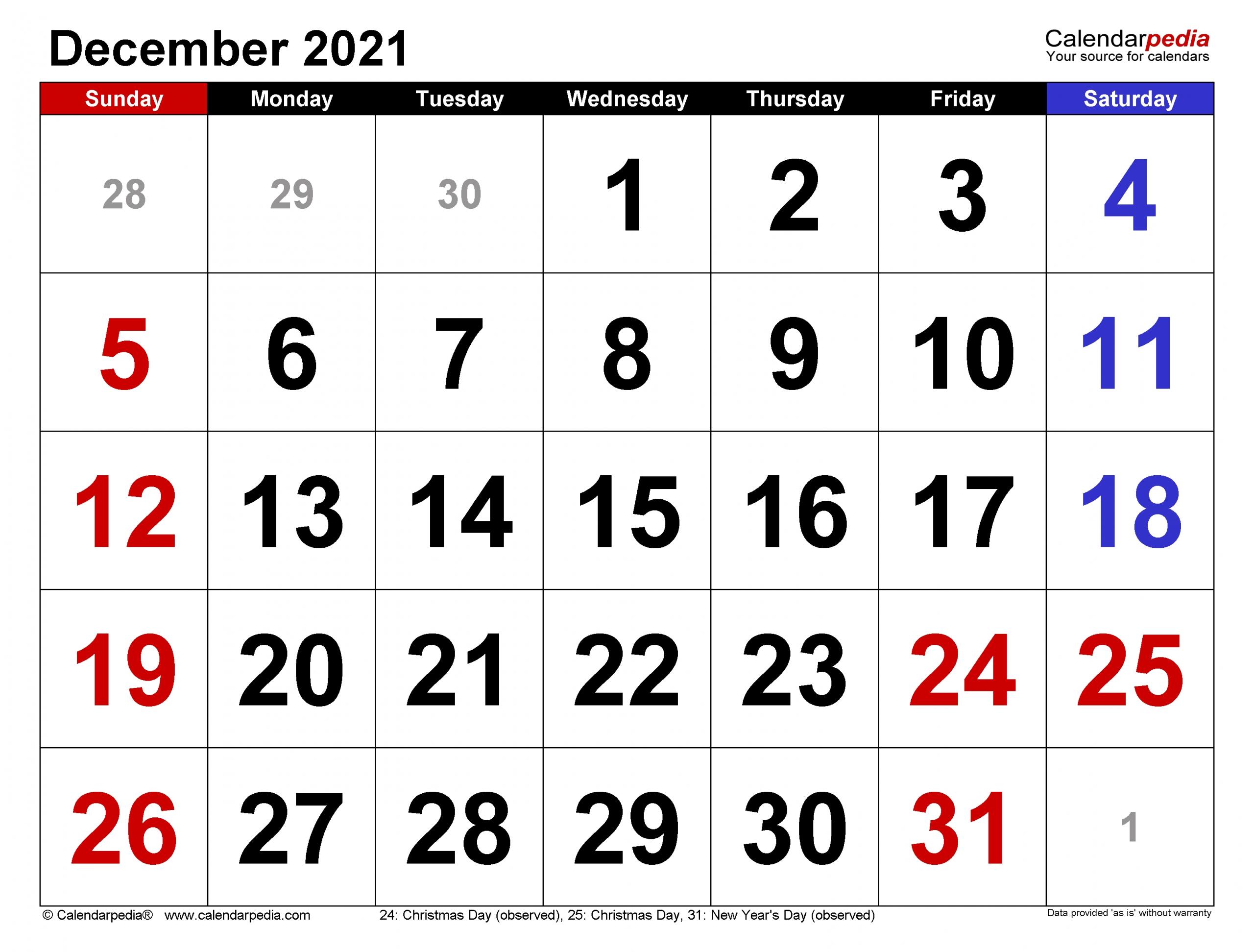 Get Writable Calendar December 2021