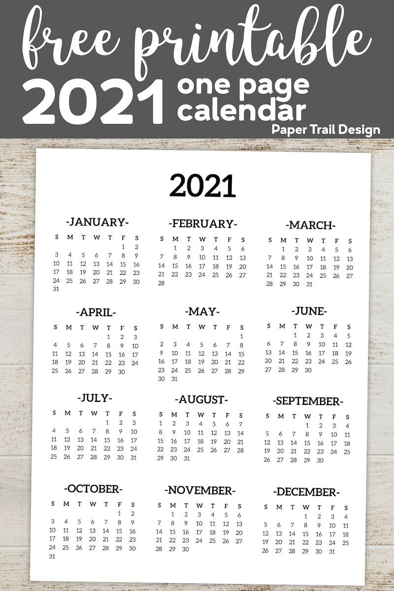 Get Year At A Glance Calendar 2021 Free Printable
