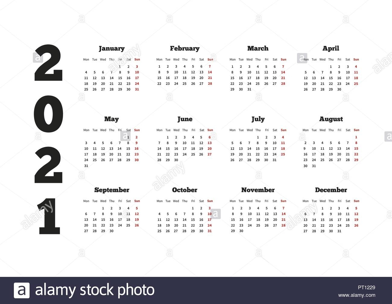 Get Yearly Calendar 2021 Monday To Sunday