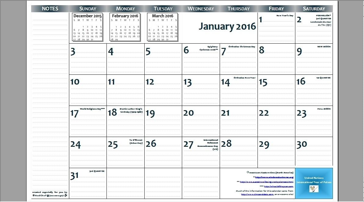 Pick 11X17 Monthly Calendar Printable