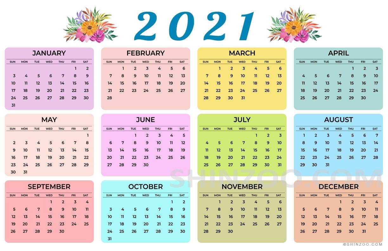 Pick 11X17 Printable Calendar 2021