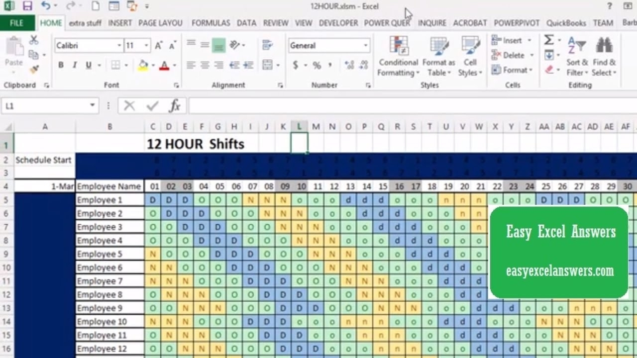 Pick 12 Hour Shift Templates
