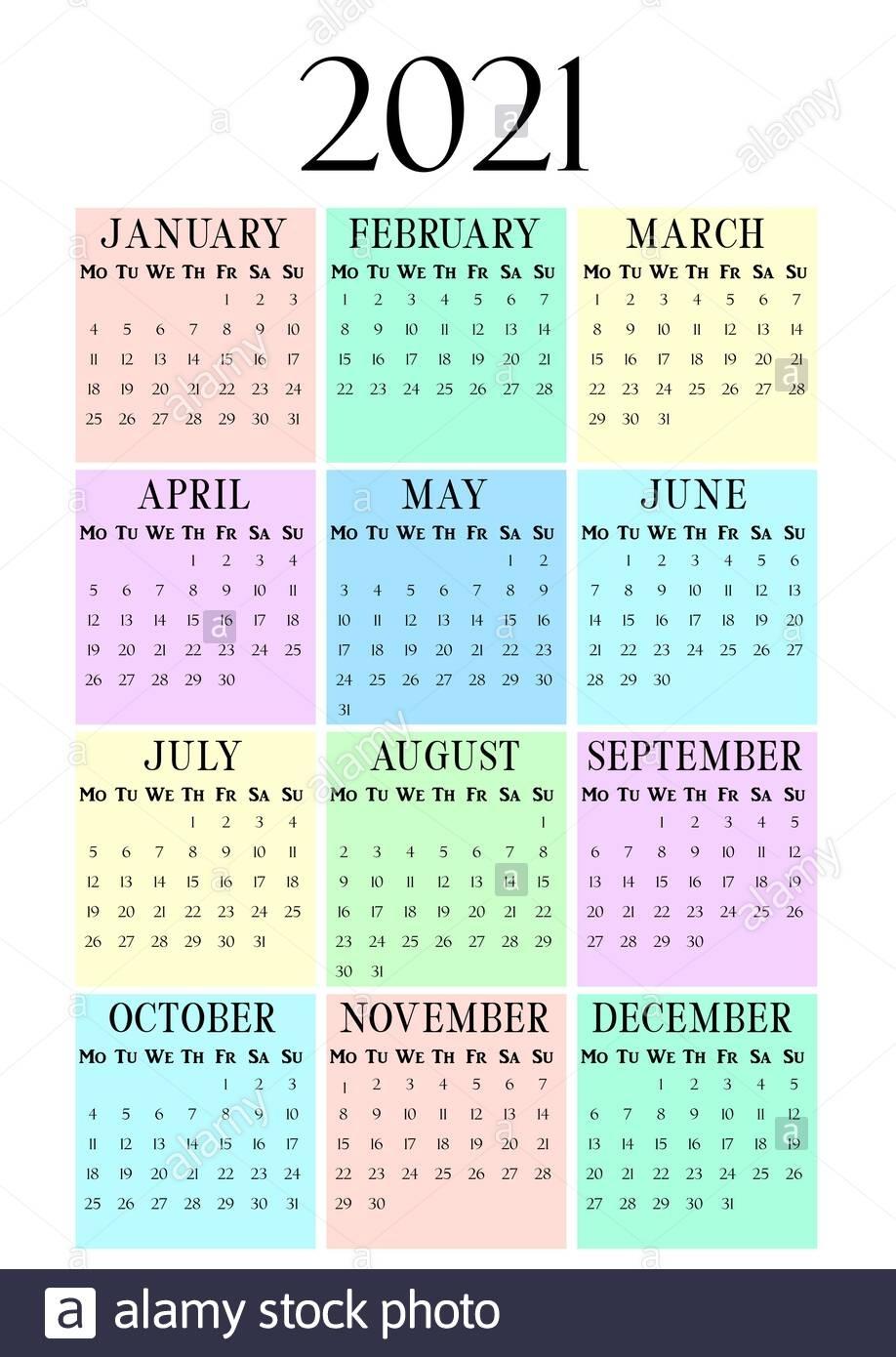 Pick 12 Month Calendar Template2021