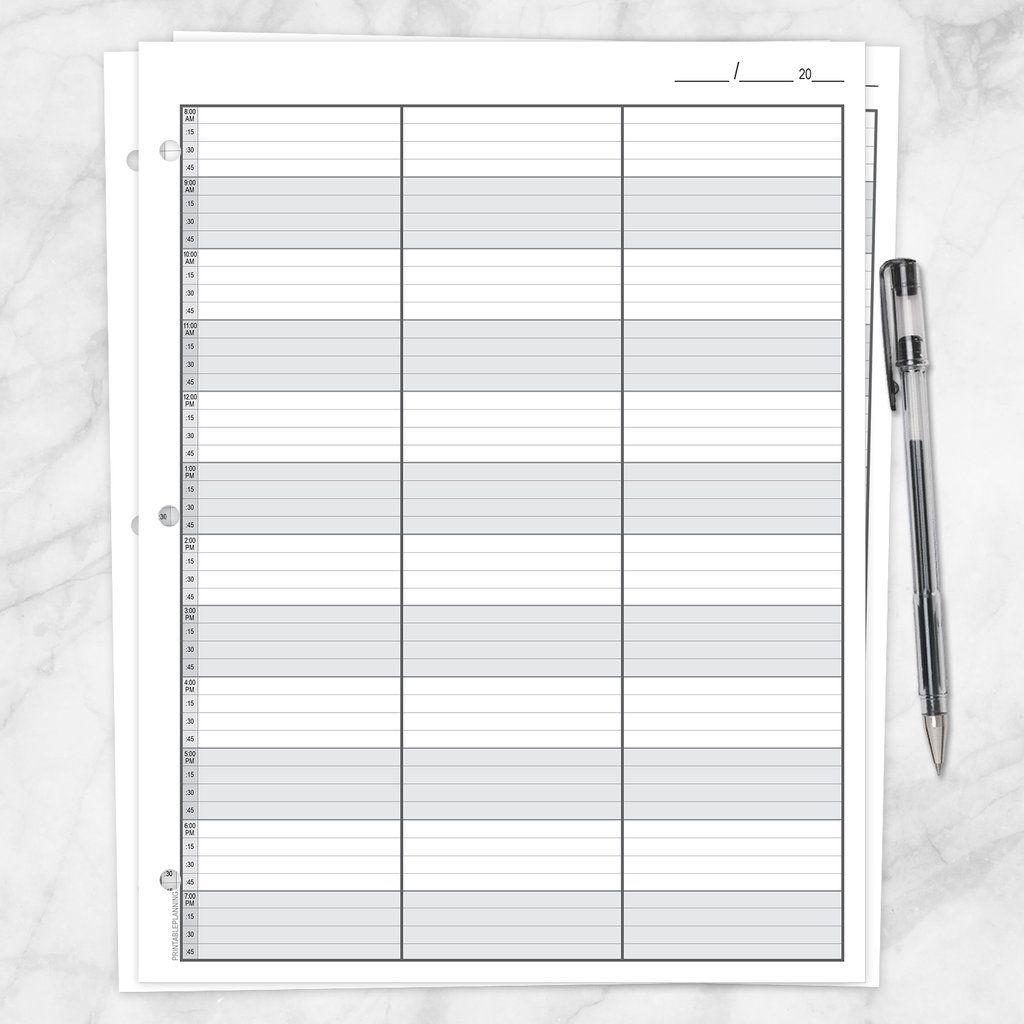Pick 15 Min Appointment Sheet