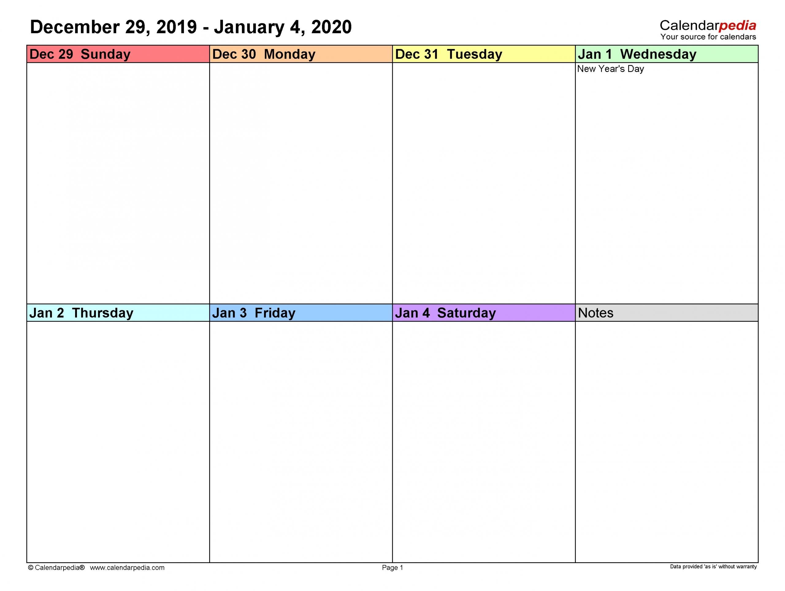 Pick 2 Week Calendar Template