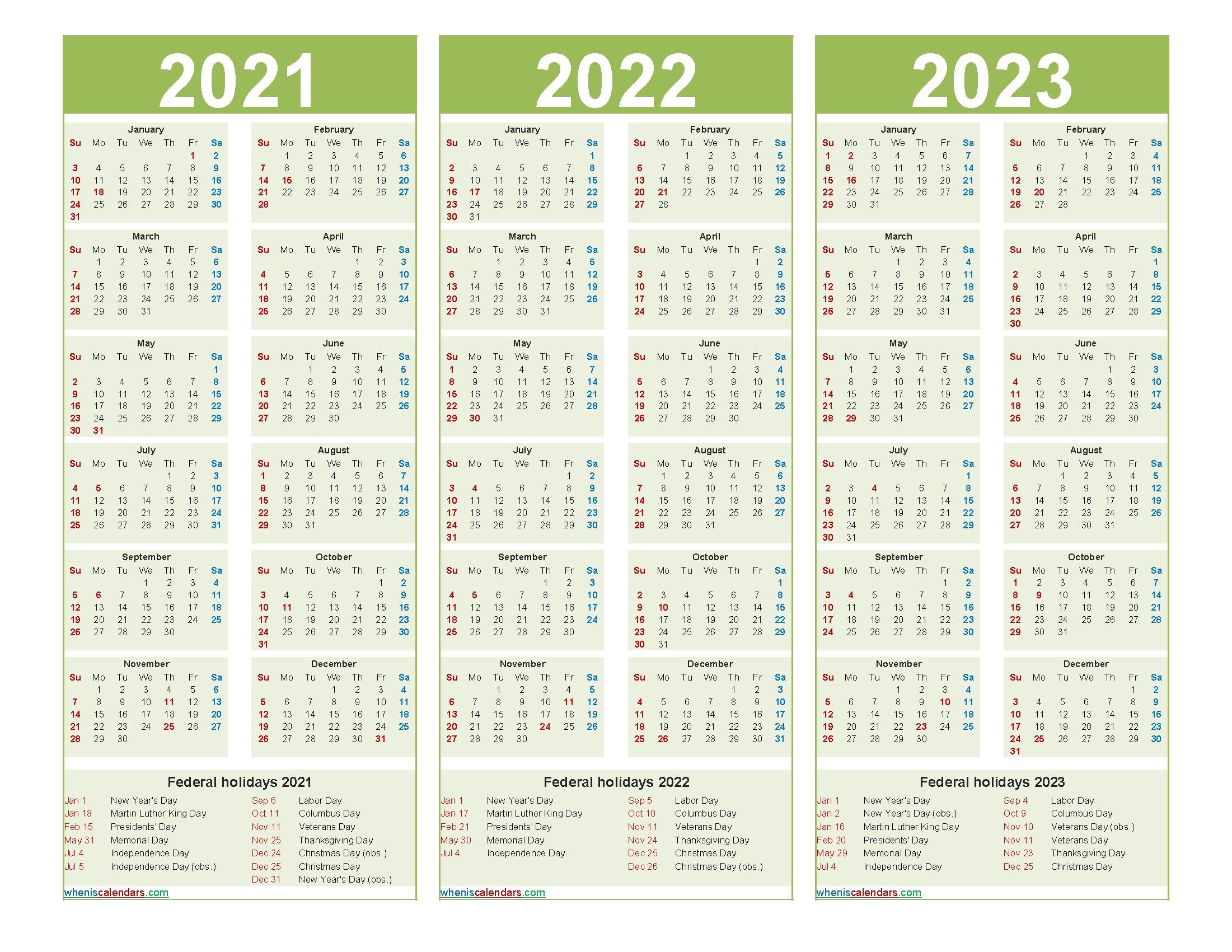 Pick 2021 And 2022 And 2023 Calendar Printable
