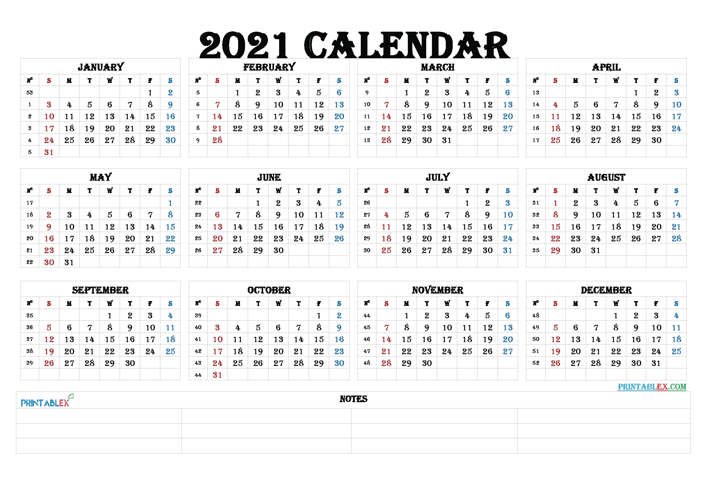 Pick 2021 Calendar By Week