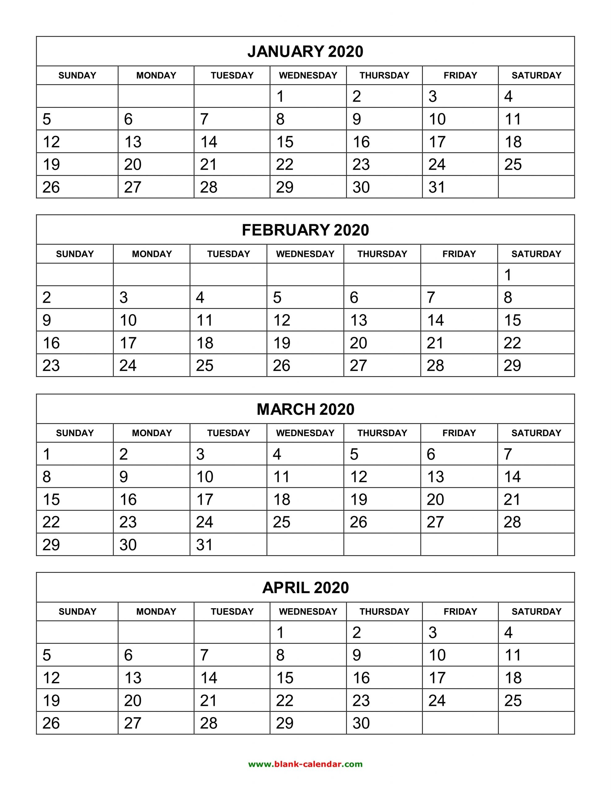 Pick 2021 Calendar Free Printable 4 Month