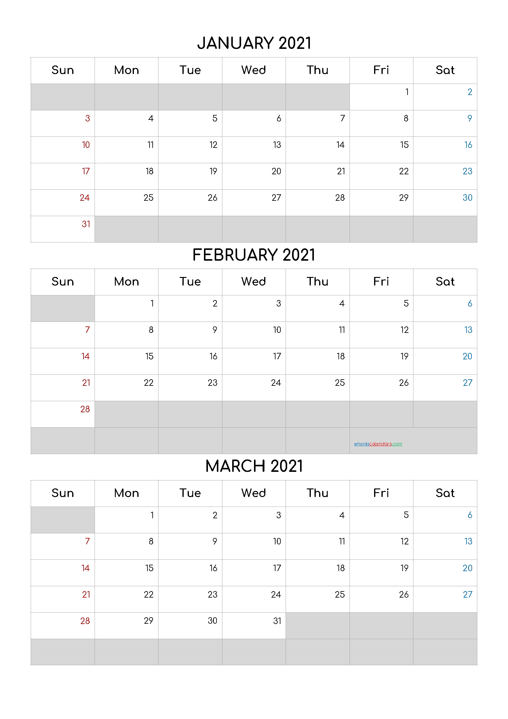 Pick 2021 Calendar January February March April 2021