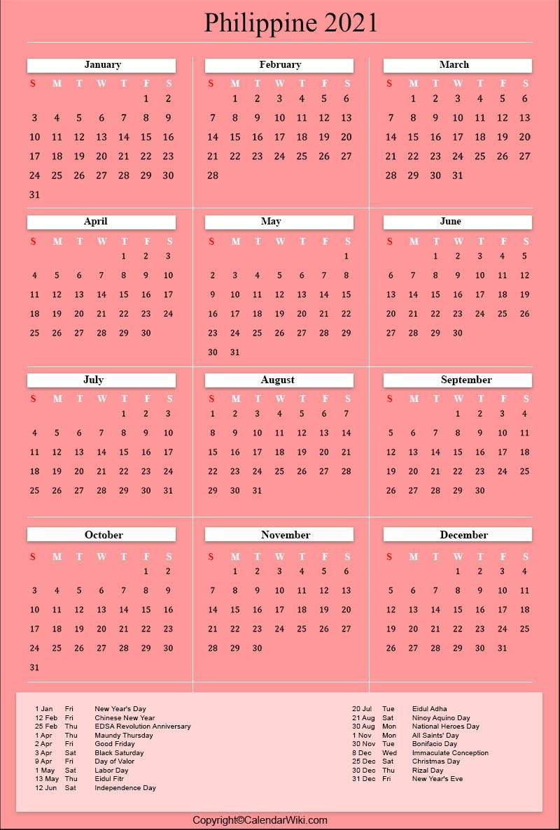 Pick 2021 Calendar Philippine Holidays