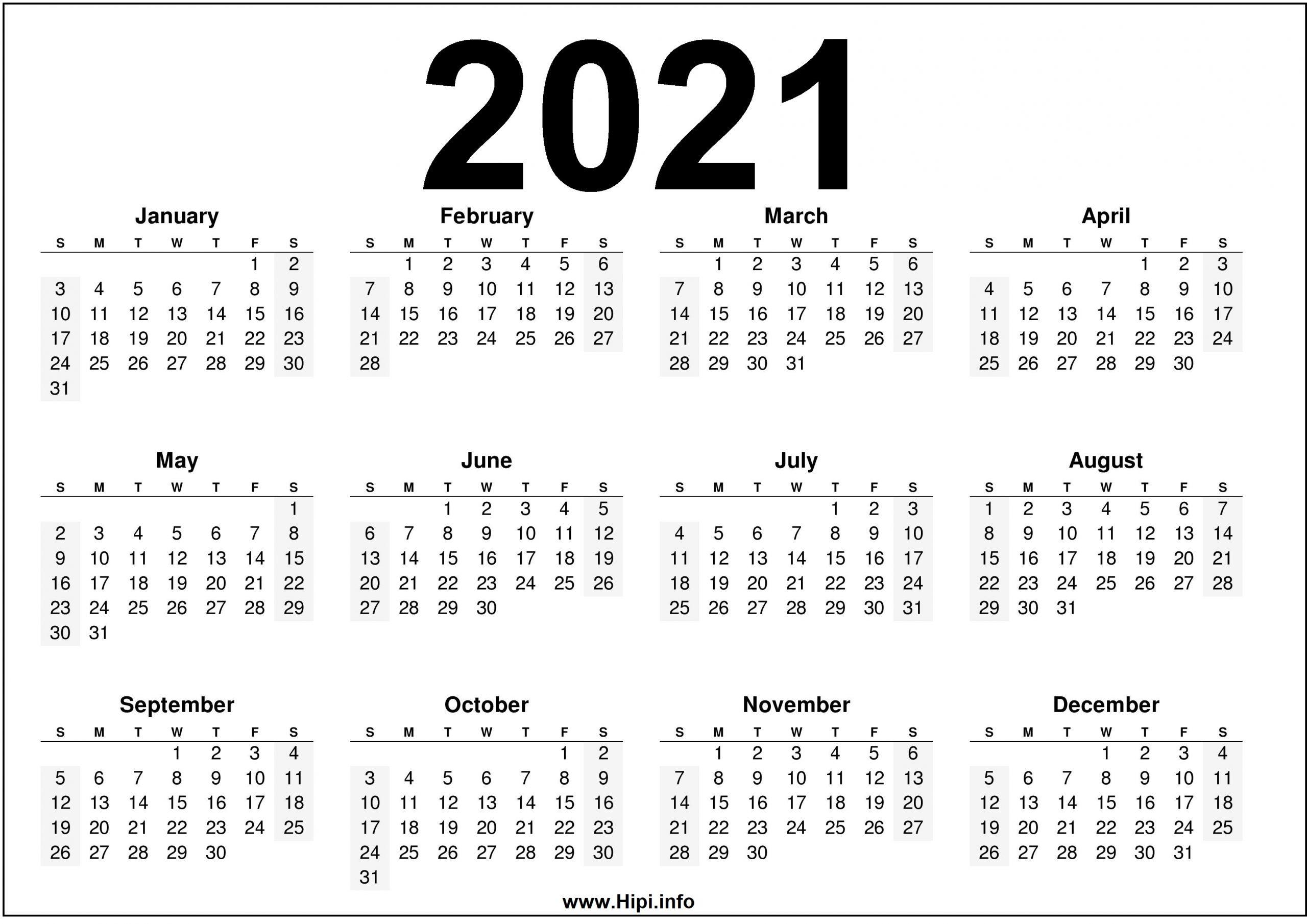 Pick 2021 Calendar Printable Free