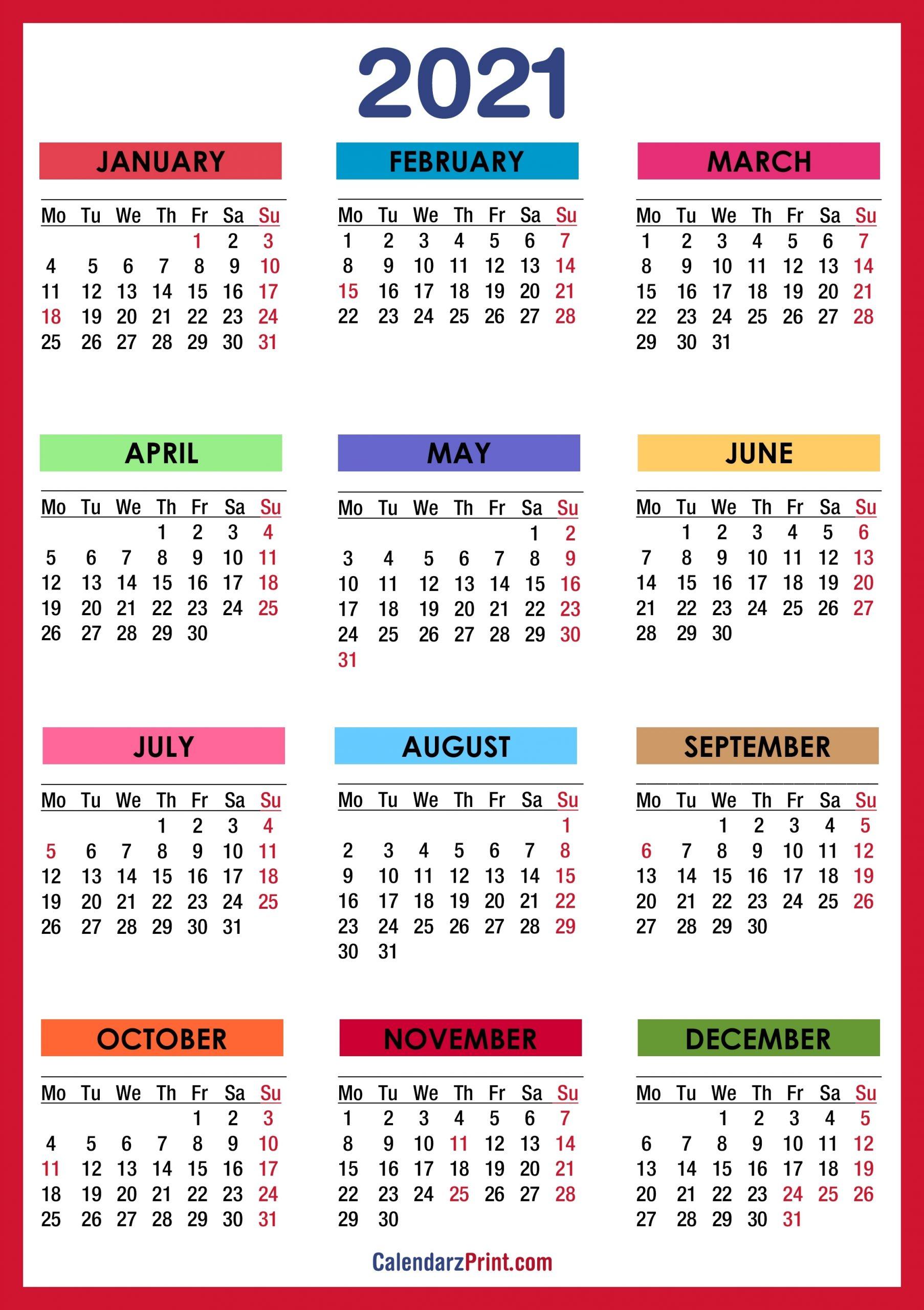 Pick 2021 Calendar With Holidays