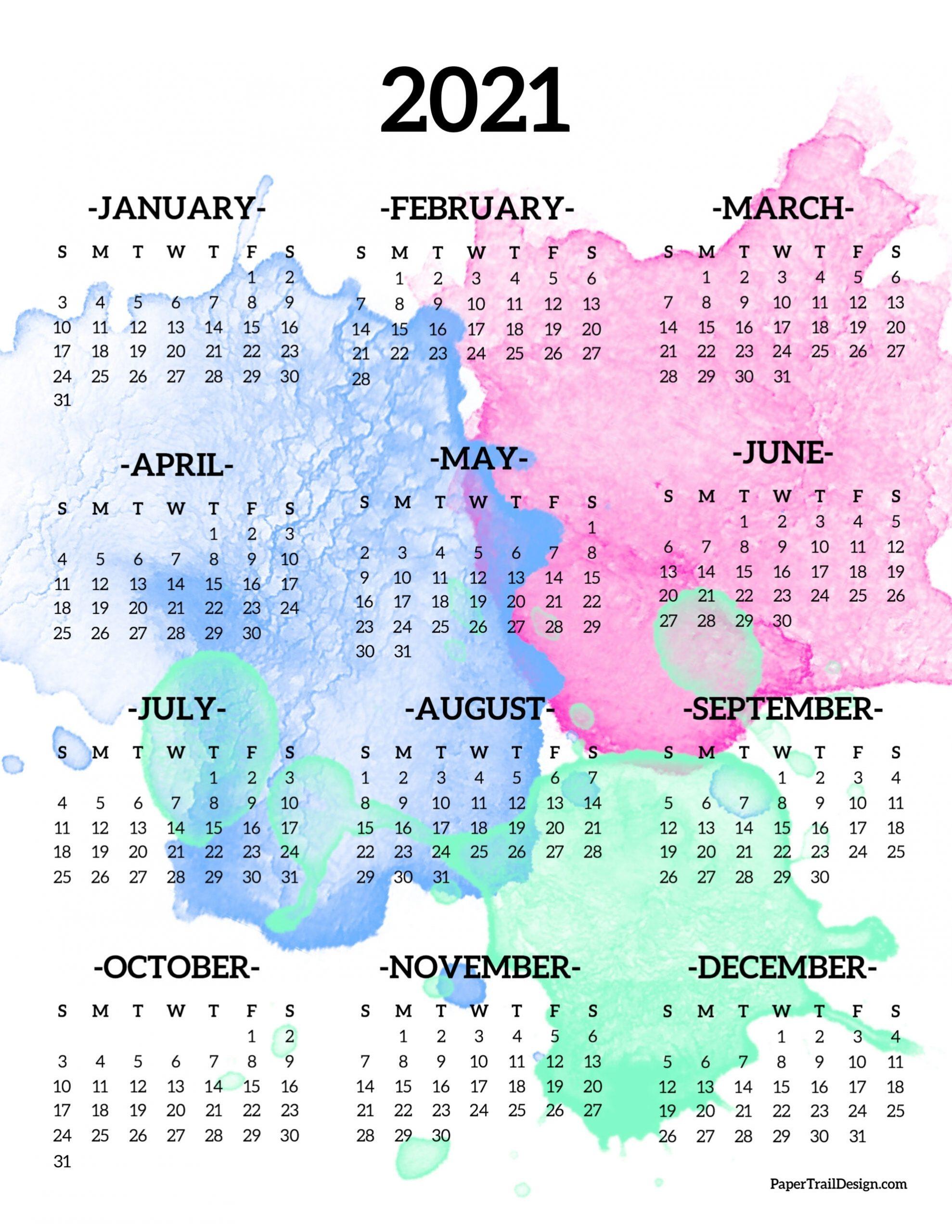 2021 Calendar Year At A Glance Printable | Best Calendar ...