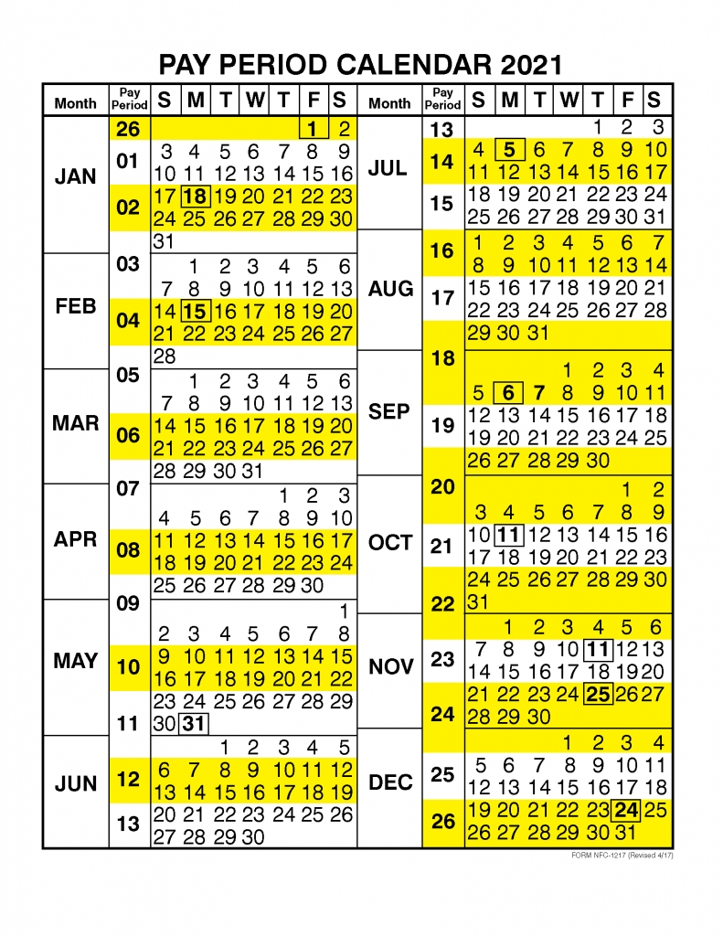 Pick 2021 Federal Holiday And Pay Calendar