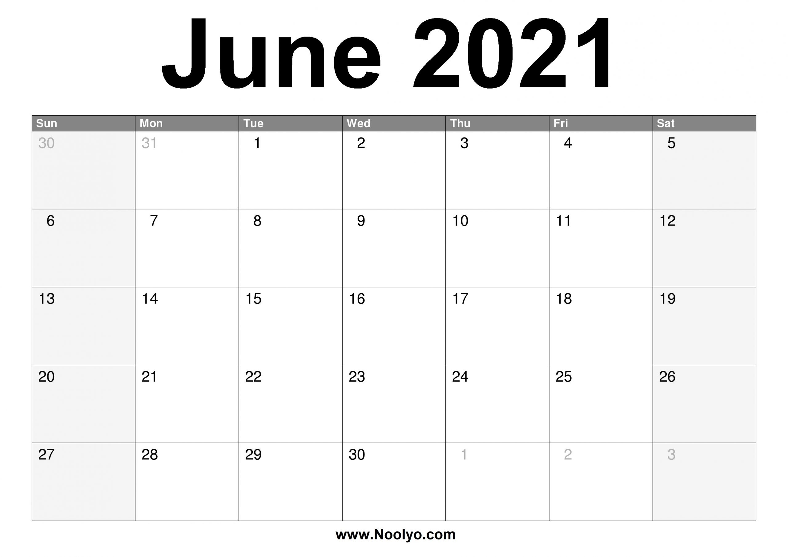 Pick 2021 June Calendars To Print Without Downloading