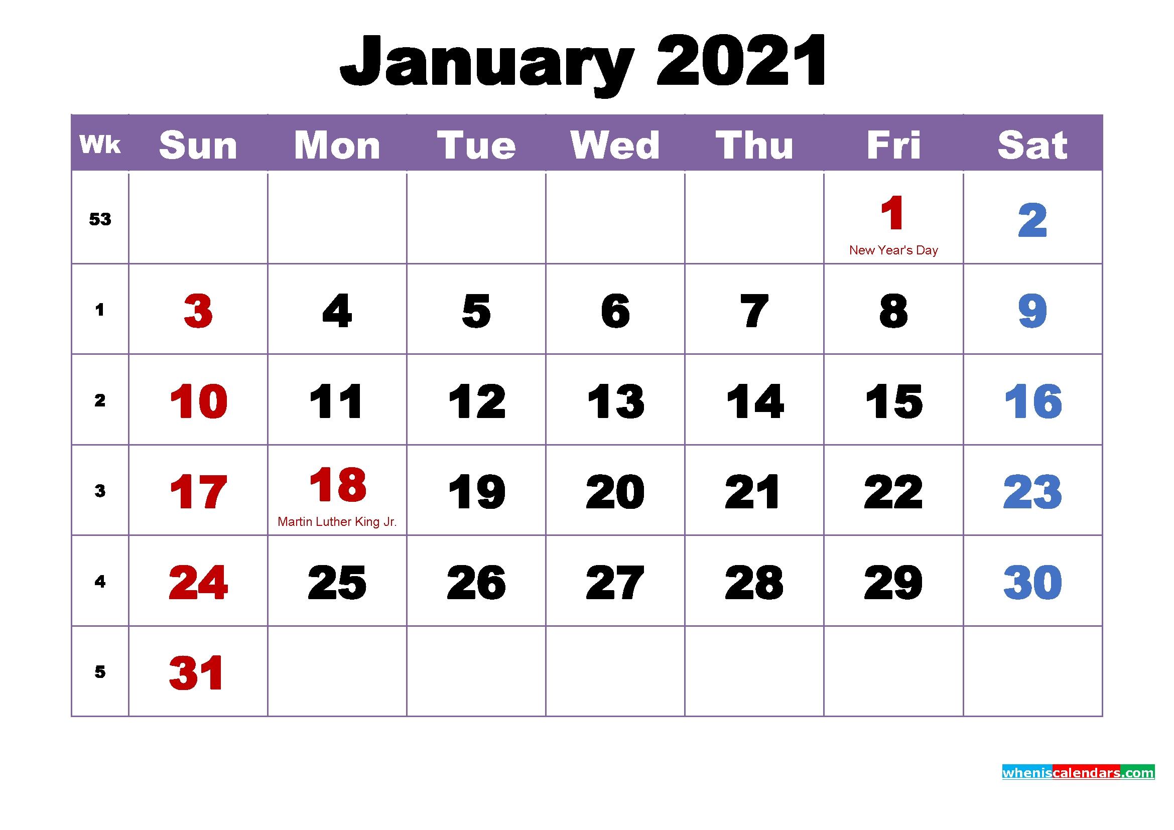 Pick 2021 Monthly Calendar Printable Pdf